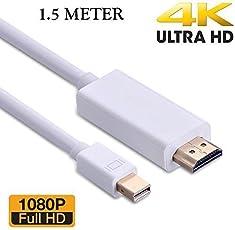 RTS™ High Quality Mini DP Thunderbolt Hdmi Cable Adapter for Apple iMac, Mac Mini, MacBook Air, MacBook Pro, Mac Pro Air LCD Tv (White) (150cm - 4.5 Foot - 1.5 Metre)