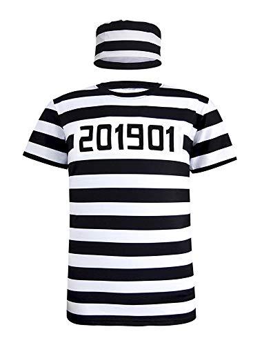 Cosavorock Herren Gefangener Sträfling Kostüm T-Shirts mit Hut (L, - Herren Gefangener Kostüm