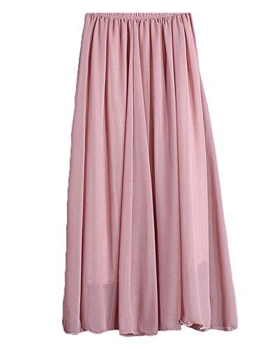 Femmes Replient Jupe Maxi Taille Plissé Stretch Bureau Maillot Long Orange pink