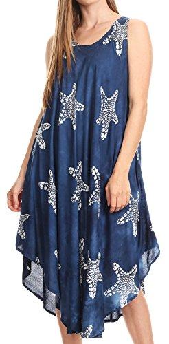 Sakkas 17148 - Vestido sin mangas casual de verano de Celina y túnica sin mangas batik sin mangas - Azul marino - OS