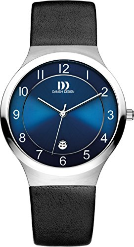 Danish Design Men's Quartz Watch with Blue Dial Analogue Display and Black Leather Strap DZ120340