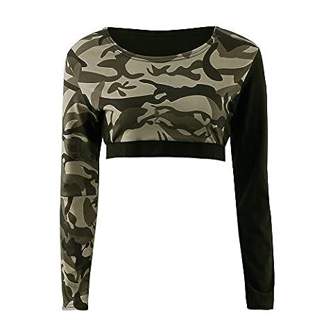 Balai Womens Army Camouflage Print Long Sleeve Short Stretch Ladies Crop Tops