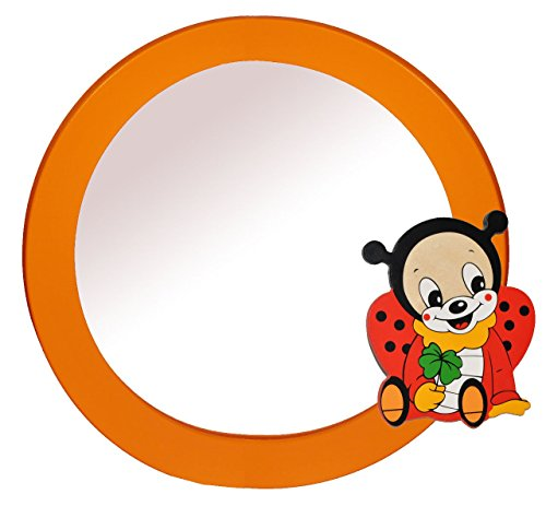 Spiegel / Wandspiegel aus massiven Holz - Marienkäfer mit Kleeblatt in orange - Kinderzimmer - Tiere - für Kinder die Wand - Tier - Mädchen Jungen oranger Glückskäfer Käfer