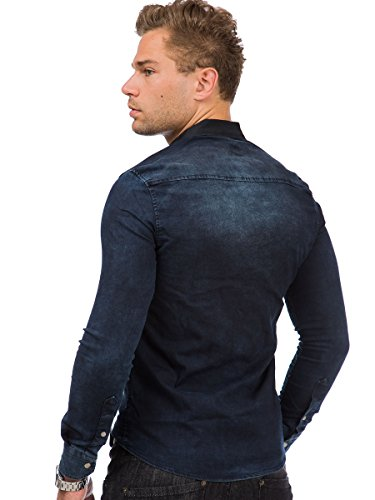Tazzio Herren Jeans Hemd Jeanshemd Langarm Shirt Blau - 16-314