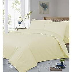T400hilos Pure algodón egipcio Super suave calidad de hotel Sábana Bajera ajustable, crema, Oxford Pair Pillow Cases