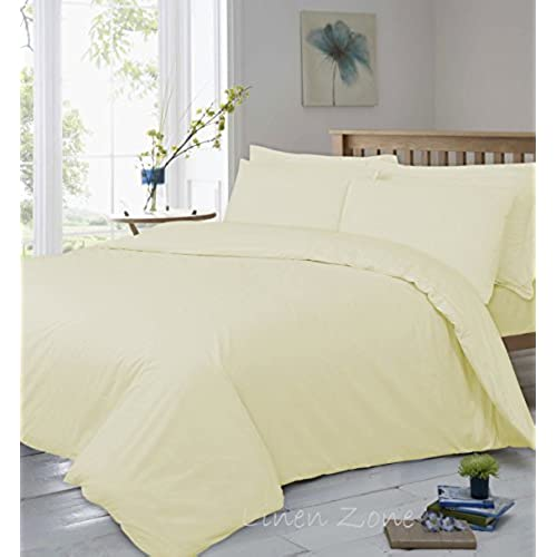 Linen Zone 400 Thread Egyptian Cotton 30CM/12 Inch Deep Fitted Bed Sheet,  King   Cream