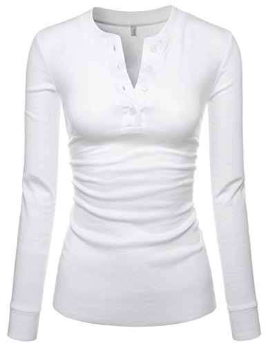 Damen Long Sleeve Western Shirt (Nearkin Damen T-Shirt, Henley-Neck, Lange Ärmel, Baumwolle, T-Shirts Gr. Small, NKNKWBT68-WHITE)