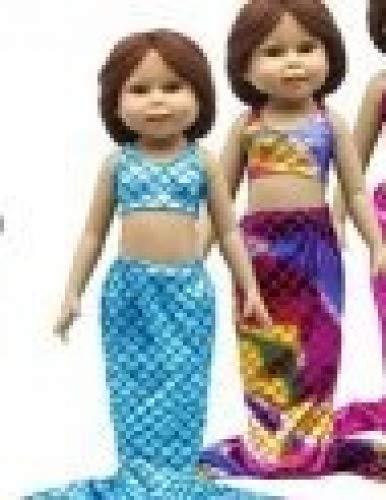 (2PCS Multicolor Meerjungfrau Schwanz Badeanzug-Set Meerjungfrau Kostüme für 45,7cm Amerikanischer Mädchen Puppe)