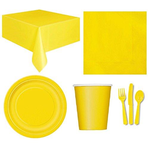 (Livecity Einweg Party Hochzeit Event Geschirr Tischdecke Serviette Teller Tasse Besteck Set Party Supplies, gelb, Einheitsgröße)