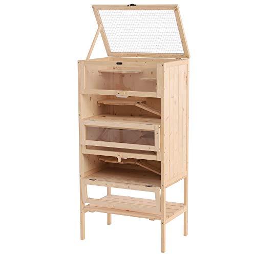 Pawhut Cage pour Hamsters Souris Petits rongeurs Multi-Niveaux 5 étages 10 Plateformes Bois de pin 60 x 40 x 120 cm