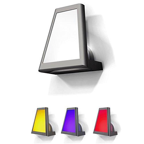 Thomas Beleuchtung Wand (Eco Light Moderne LED-Außenwandleuchte inklusive 3 Farbfiltern, 570 und 120 lm, 25 x 22 cm, IP54 1874 S GR)
