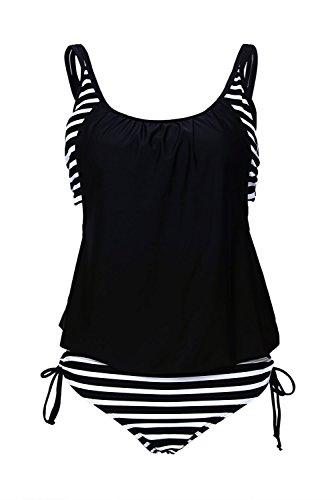 Azue Damen Zweiteilig Tankini Set Bauchweg Bademode 2 Teile Badeanzug Sportlich Bikini Set Schwarz und Weiß Streifen