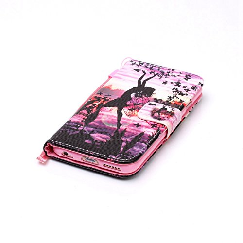 Felfy Tasche für iPhone 6 Hülle,iPhone 6S Leder Brieftasche Flip Hülle BookStyle PU Leder Wallet Case Hunde Katzen Fuchs Rose Farbe Muster Lederhülle Folio Schutzhülle Ledertasche PU Leder & Silikon I Schmetterlings-Mädchen