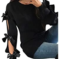 NINGSANJIN Damen Pullover Frauen-beiläufige Feste Fliege-Pullover-lose Strickjacke Jumper Tops Knitwear-Bluse