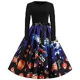Lazzboy Frauen Neue Halloween Kürbis Print Kleid Rundhals Reißverschluss Hepburn Partykleid Damen Retro Lace Vintage Eine Linie Schaukel(Blau,L)