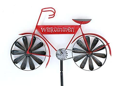HOLZWURM Gartenstecker Metall Fahrrad Willkommen Rot MT86 Windspiel Windrad Wetterfest Gartendeko Garten Gartenstab Bodenstecker