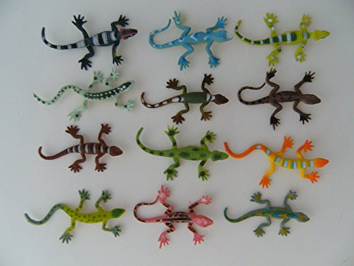 PIA International Eidechsen, 12erSet, ca. 6,5 cm, Echse Echsen Eidechse, Hartgummi, Spielzeug Tiere