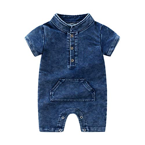 Pwtchenty baby Kinder Neugeborenes Denim Solide Strampler Overall Outfits Volltonfarbe Cute Tasche Kleidungs Set