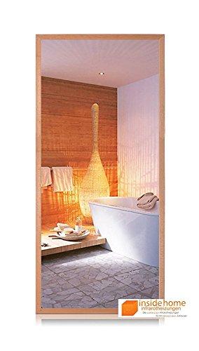 Infrarotheizung Spiegel mit Holz Rahmen in Buche - Spiegelheizung mit Rahmen, 900 Watt - 140 x 60 x 3 cm