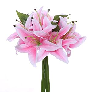 FS Paquete de lirios artificiales de 32 cm, color rosa claro con grandes cabezas de flores de 15,24 cm.
