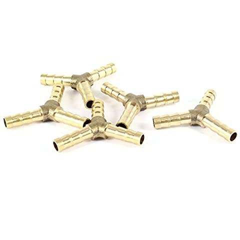 5pcs 6mm Hose Y Shape 3 Ways Air Gas Brass Barb Fitting Connector
