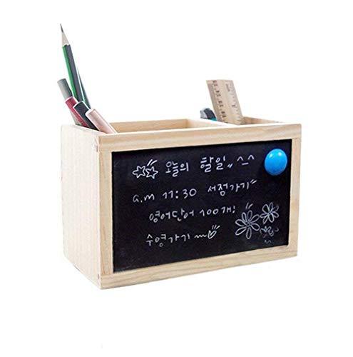 Fablcrew pen holder,home desk in ordine 16.5 * 8.5 * 11cm,portapenne con lavagna,cancelleria per ufficio in legno,retro scrivania art