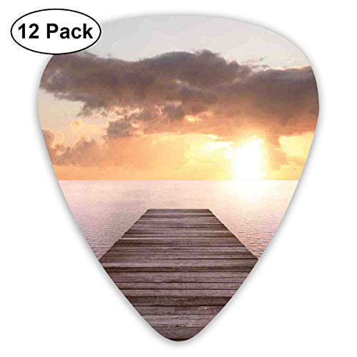 Celluloid Guitar Picks - 12 Pack,Abstract Art Colorful Designs,Sunset Photo Old Wooden Pier Deck Over The Sea Horizon Clouds Ocean Art,For Bass Electric & Acoustic Guitars. - Pier-design