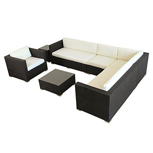 POLY RATTAN AZUR Lounge Gartenset SCHWARZ Sofa Garnitur Polyrattan Gartenmöbel - 4