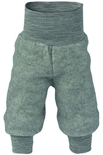 Baby Hose Fleece, 100% Schurwolle, Engel Natur mit Nabelbund, 74/80,  Hellgrau Melange -