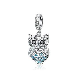 Charm a forma di gufo, in argento Sterling 925, con cristalli di zirconia cubica, compatibile con braccialetti e collane…