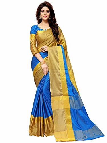 Indian Beauty Women's Cotton Silk Saree(Sky Blue ,Free Size)
