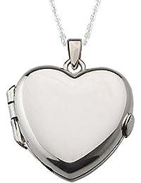 Alylosilver Collar Colgante Guardapelo Corazón de Plata para Mujer - Incluye una Cadena de Plata de 45 Centimetros y un Estuche para Regalo