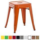 CLP Sitzhocker Armin aus Metall I Stapelbarer Hocker mit Einer Sitzhöhe von: 46 cm I Pflegeleichter Arbeitshocker I In Verschiedenen Farben erhältlich Orange