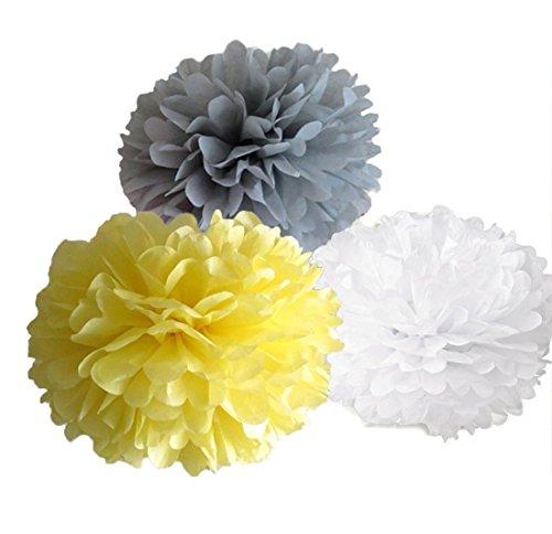 Papier Blume Pom Poms Hochzeit Geburtstag Kinderzimmer Baby-Raum Dekoration Favor, Papier, Yellow Grey White 6