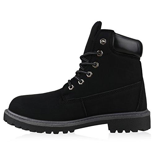 UNISEX Damen Herren Stiefeletten Worker Boots Outdoorschuhe Schnürstiefel Schwarz Matt