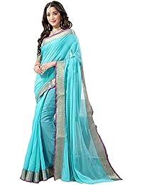 Naari Vastram Women's Cotton Silk Jacquard Printed Lace Border Blue Plain Saree With Blouse Piece (Blue N-403)