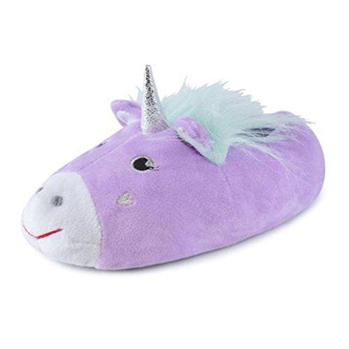 FootprintsPadstow - Girls Childrens Unicorn Fleece Purple Novelty Slippers - Gir-uni-pur