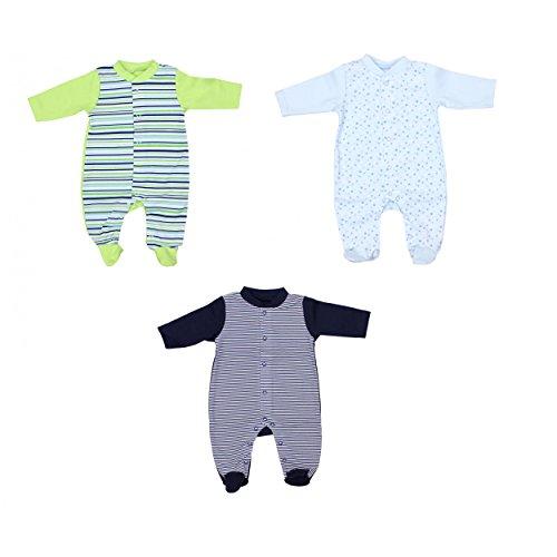 TupTam Unisex Baby Schlafoverall mit Fuß 3er Pack, Farbe: Junge 2, Größe: 56