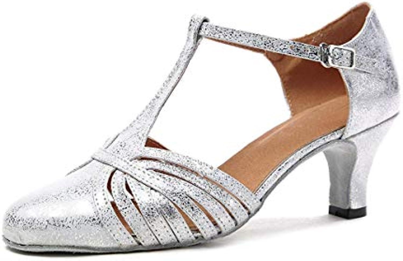 Congshua GL259 Donna Moda Sintetico t-Strap t-Strap t-Strap Latin Ballroom Scarpe da Ballo Partito Pompe, argento-6cm Heel, 4 UK | Di Modo Attraente  f24a0b