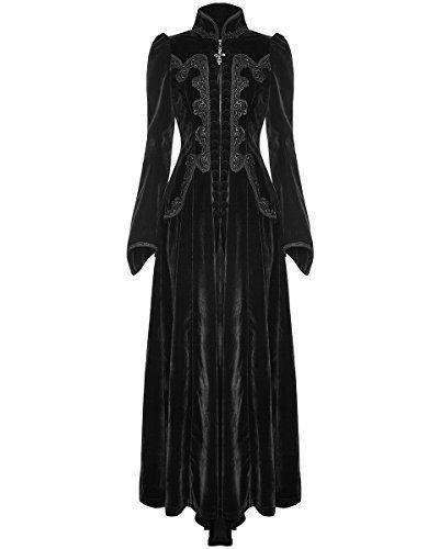 Punk Rave Para Dama, largas Gótico Vestido Chaqueta Terciopelo Negro steampunker Victoriano Vintage - Negro, L - UK Womens Size 12