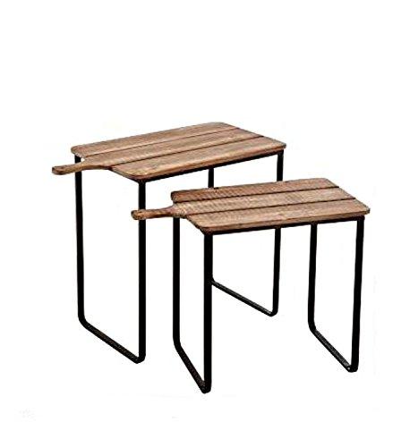 J-line Satztisch 2Stück Holz Natur & Metall 71x 36x 57cm | Wohnzimmer > Tische > Satztische & Sets | Holz - Metall | J-line