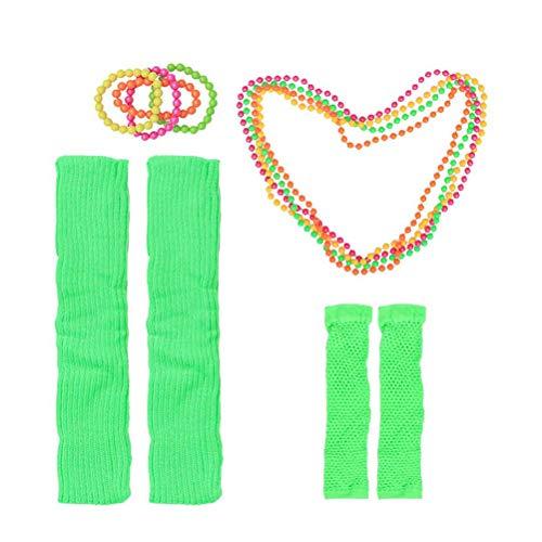 Toyvian 80er Kostüm Set Halsketten Fingerlose Fischnetzhandschuhe Beinwärmer Armbänder 80er Party Kleid Zubehör 12 Stück (Grün)