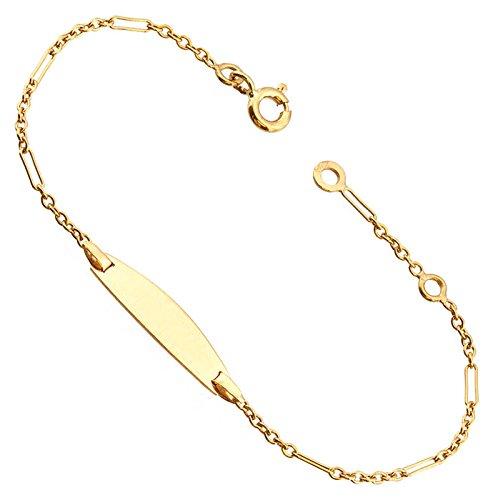 Orleo - REF7078BB : Bracelet identité Enfant Or 18K jaune - Maille Alternée 14 cm - Fabriqué en France