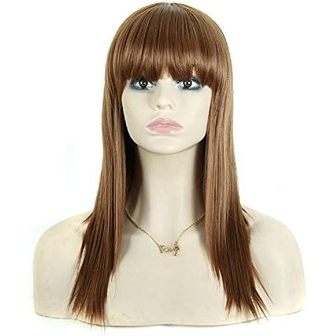 Meydlee Pelucas Larga peluca recta hembra con aseado flequillo cabello castaño completo pelucas