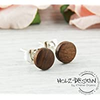 Ø6mm Holz Ohrstecker dunkelbraun Mini Kleine Fake Plugs Ohrringe braune hölzerne Mini Ohrring kleine runde Holzohrstecker wooden earrings wood post studs