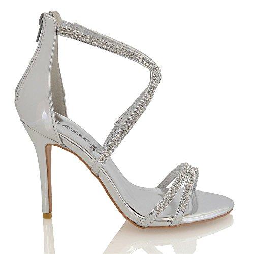Essex Glam Frauen synthetischen Hoch Stiletto Diamante Sandalen Silber Metallisch