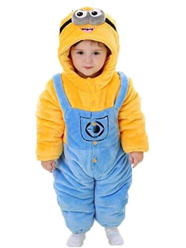 Minion Pyjamas der weichen Kleinkinder Kigurumi Unisex Baby Cosplay Onesie Kostüm Strampler (Klein (6 - 9 Monate (70 cm)) (Alte 6 Halloween-kostüm Monat)