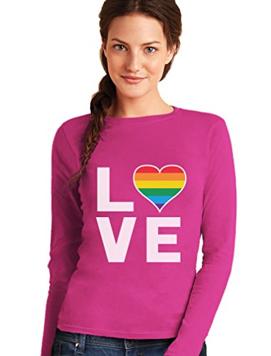 Love - Regenbogen Herz Liebe Schwul Lesbisch Frauen Langarm-T-Shirt Rosa