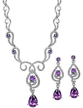 ❤Valentinstagsgeschenke❤ Swarovski Elements Schmuck-set (Ohrringe, Halskette) Silber Zirkonia Lila Neoglory Jewellery