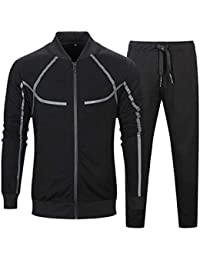 8a3755cd620 TECLEAN Men's Causal Tracksuit Set Full Zip Jogging Suits Sportwear  Athletic Sweat Suits
